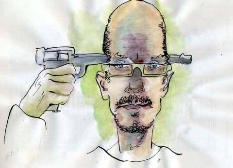 Pistole durch Kopf