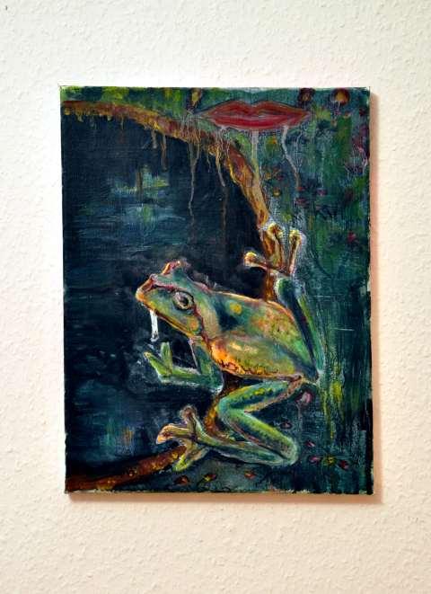Frosch am Pool an der Wand