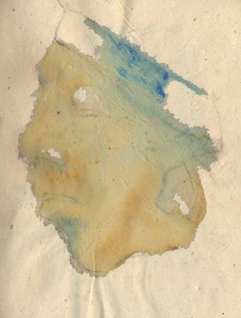 Steinplastik der Maya, Tusche und Gouache auf chinesischem Papier