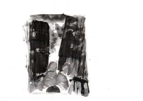 Der Schatten des Körpers des Kutschers